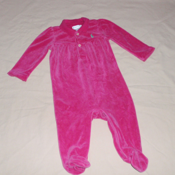 Ralph Lauren Other - Ralph Lauren Hot Pink Velour Girls Footie Sleeper